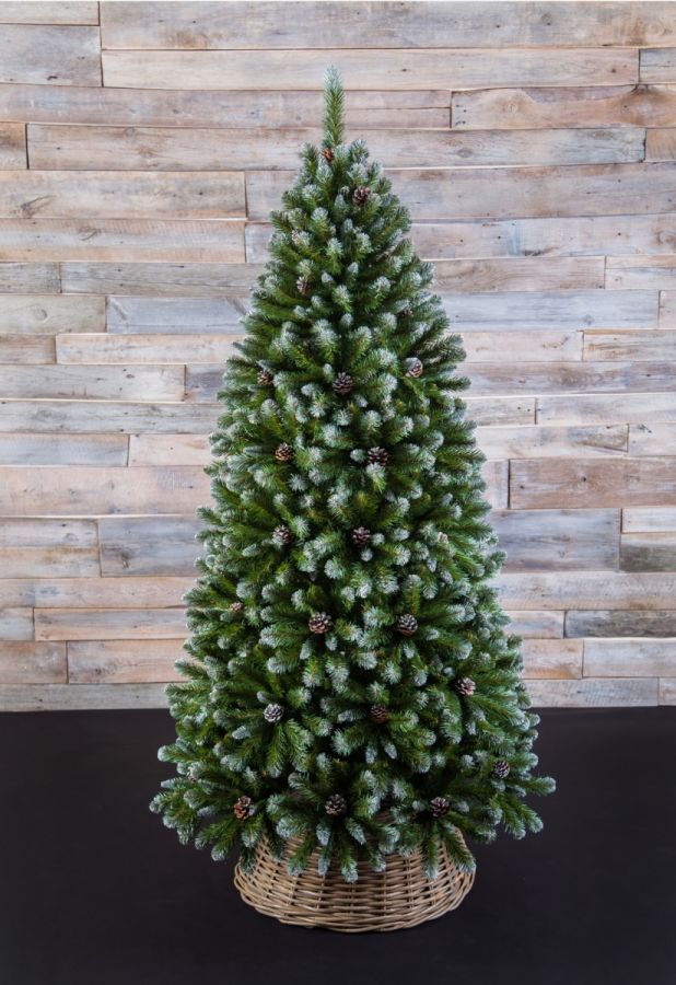Искусственная елка Императрица с шишками 425 см заснеженная