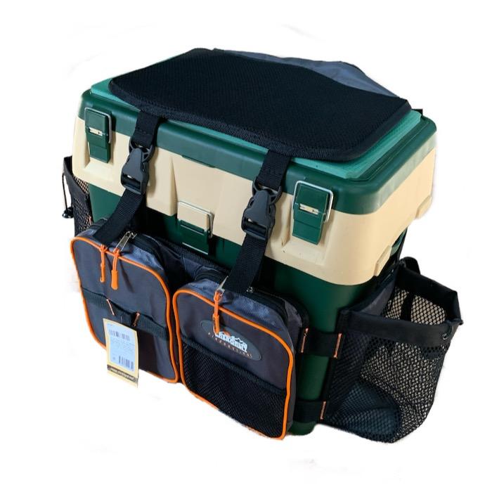 Ящик рюкзак рыболовный Следопыт 4 кармана цв серый