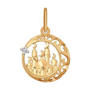 Подвеска мусульманская из золота с фианитом 034442 SOKOLOV
