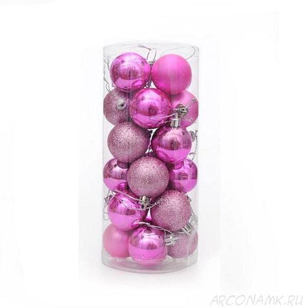 Набор украшений для елки Шары в колбе 7.5 см, 24 шт., Цвет: Розовый