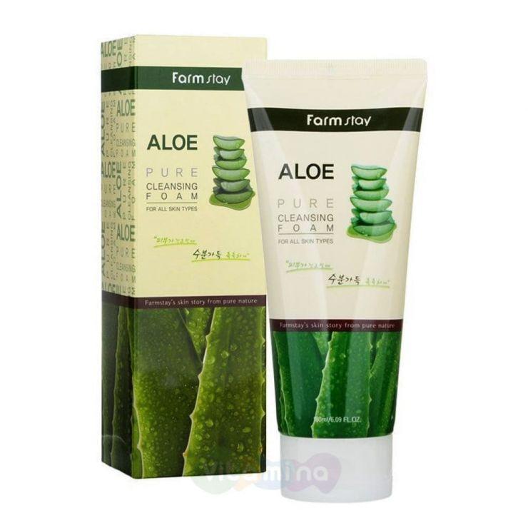 FarmStay Пенка для умывания с экстрактом алоэ Aloe Pure Cleansing Foam, 180 мл