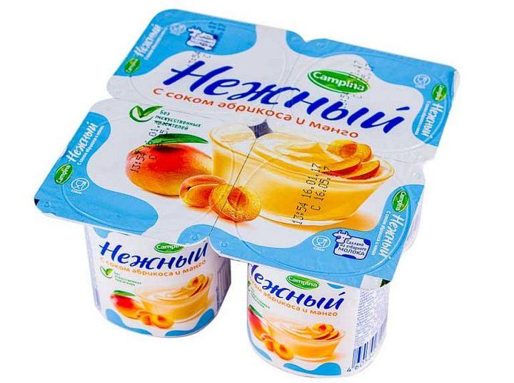 Продукт йогурный Кампина Нежный 1,2% абрикос/манго 100г ООО Кампина