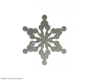 `Вырубка ''Снежинка-5, 4 см'' , глиттерный фоамиран 2 мм