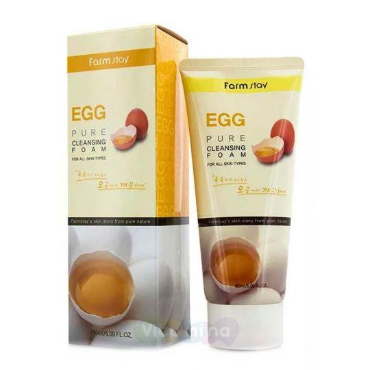 FarmStay Очищающая пенка для сужения пор с яичным экстрактом Egg Pure Cleansing Foam, 180 мл
