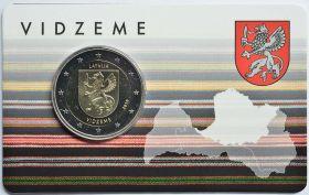Герб Видземе   2 евро Латвия  2016 BU блистер