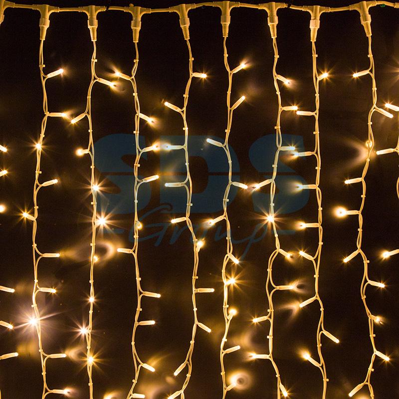 Светодиодная Гирлянда Шторка 400 LED, 3х2.5 м, Цвет Свечения Белый Теплый