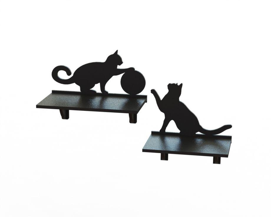 Полки с играющими котами