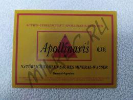 """Этикетка на бутылку немецкой минеральной воды """"Apollinaris"""" 0.33L"""