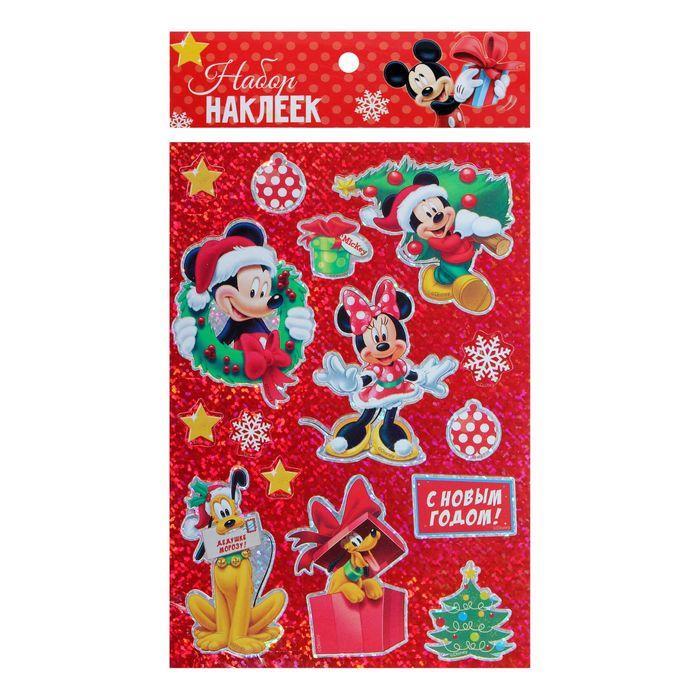 Наклейки декоративные голография С Новым годом!, Микки Маус и его друзья
