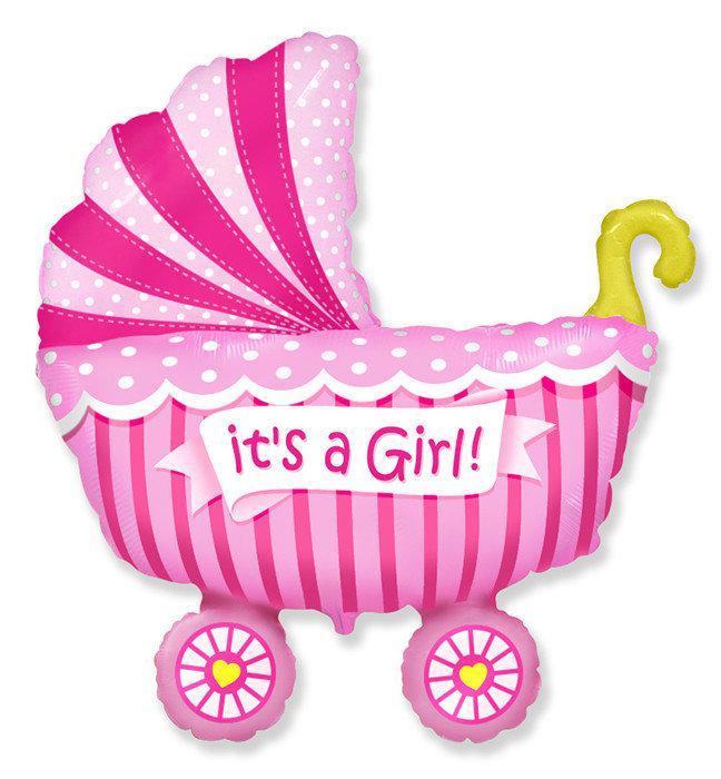 Шар фольга Фигура Коляска детская розовая G36