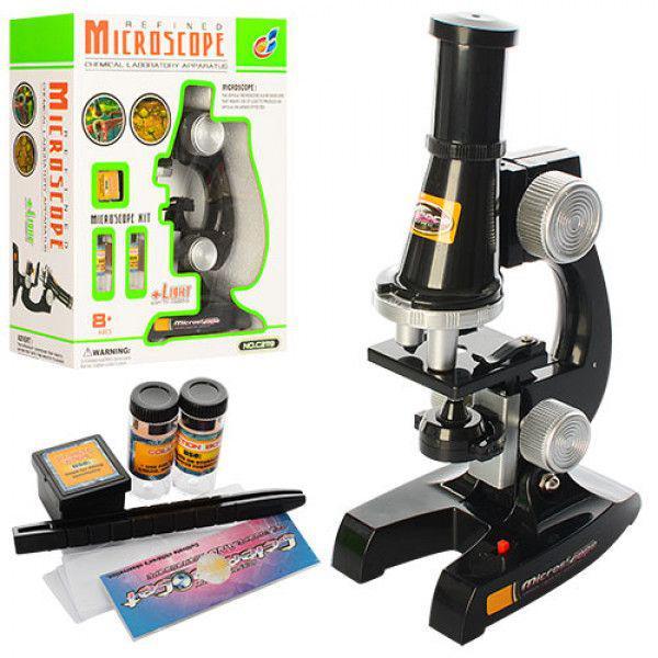 Микроскоп с аксессуарами на батарейках(свет)в коро