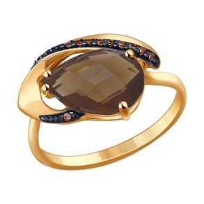 Кольцо из золота с раухтопазом и фианитами 714209 SOKOLOV