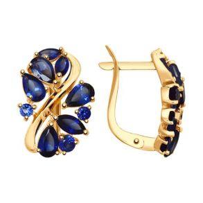 Серьги из золота с синими корундами (синт.) 725135 SOKOLOV