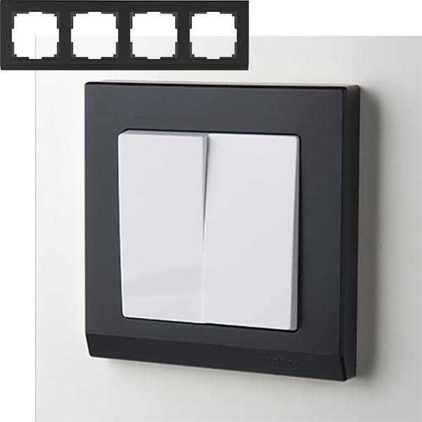 Рамка на 4 поста Werkel WL04-Frame-04 Черный
