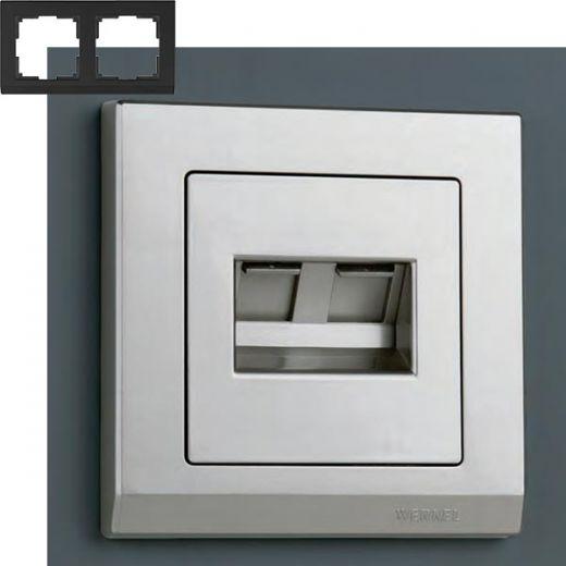 Рамка на 2 поста Werkel WL04-Frame-02 Серебряный
