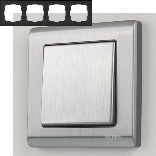 Рамка на 4 поста Werkel WL02-Frame-04 Глянцевый никель