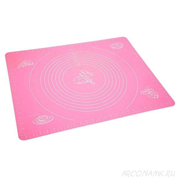 Силиконовый коврик для раскатывания теста, 50х40 см.,Цвет: Розовый