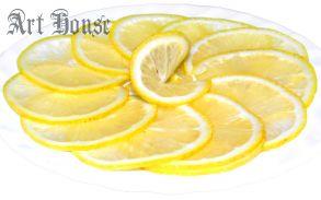 Лимонная тарелка с зернами кофе