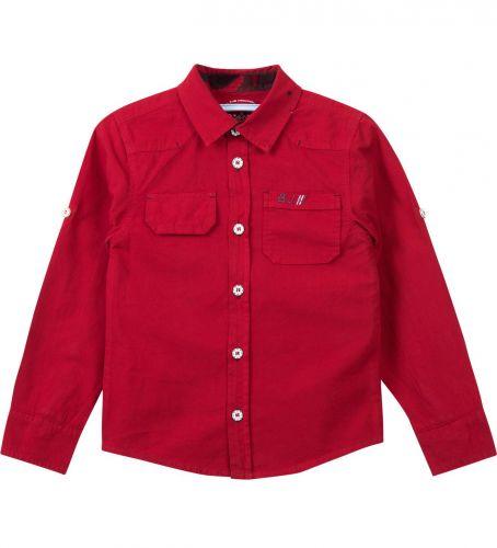 Рубашка для мальчика Bonito Jeans 7-10 лет бордовая, поплиновая