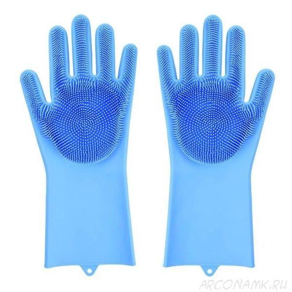 Многофункциональные силиконовые перчатки Magic Brush, 2 шт., Цвет: Голубой