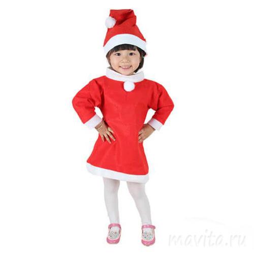 Красный костюм снегурочки для девочки, 3-5 лет