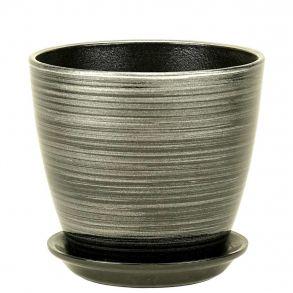 горшок бутон черн/серебро 18см (ЭК 04/3)