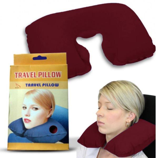 Подушка для путешествий Travel Pillow (Тревел Пиллоу), Цвет: Бордовый