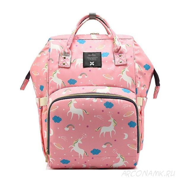 Сумка-рюкзак для мамы Mummy Bag Единорог, Цвет: Розовый