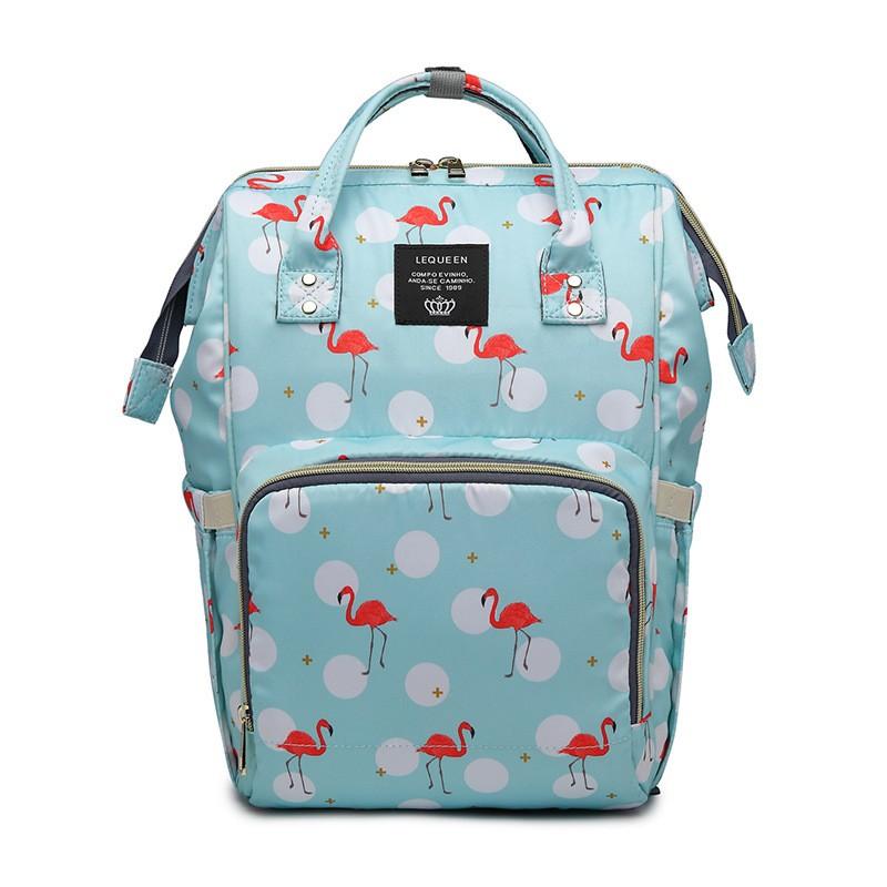 Сумка-Рюкзак Для Мамы Mummy Bag Фламинго, Цвет Голубой