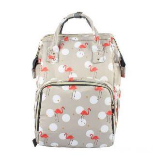 Сумка-рюкзак для мамы, Фламинго, Цвет: Серый