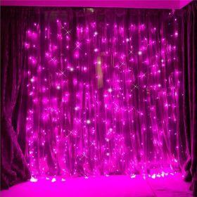 Гирлянда занавес влагостойкая 3х3 метра розовый 300 ламп