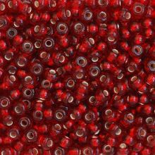 Бисер чешский 97090 прозрачный светло-бордовый серебряная линия внутри Preciosa 1 сорт