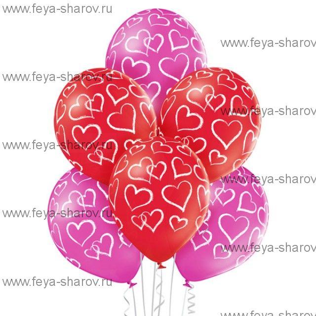 "Шар 14""(34см) С сердечками"