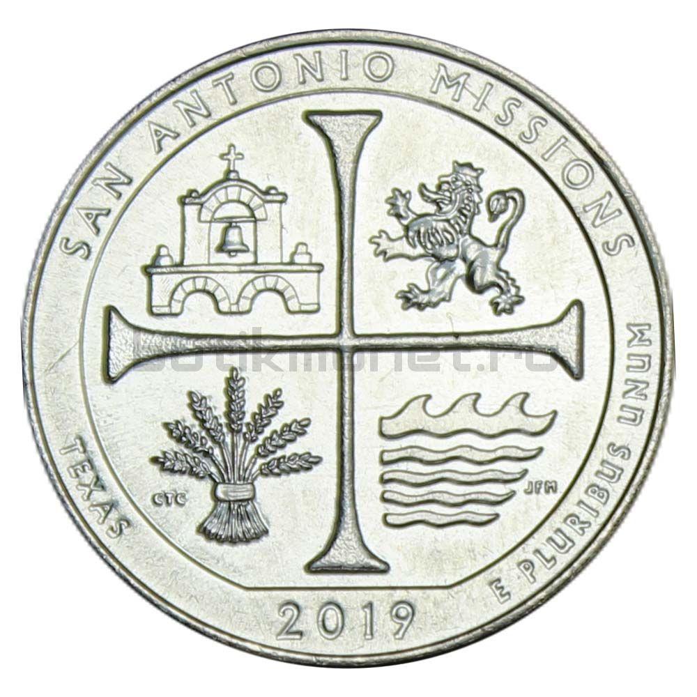 25 центов 2019 США Национальный Исторический Парк Миссии Сан-Антонио D