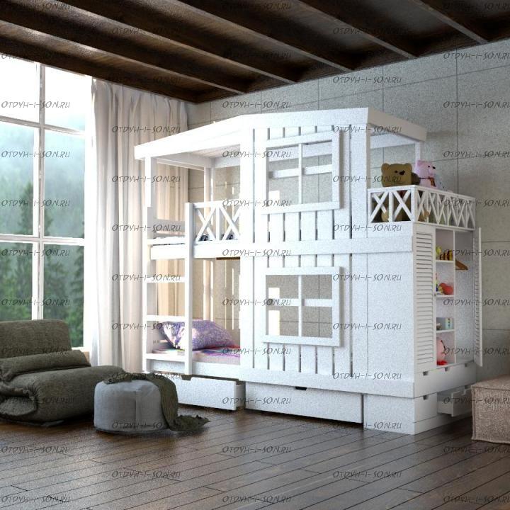 Кровать двухъярусная Домик Factory №19 + шкаф