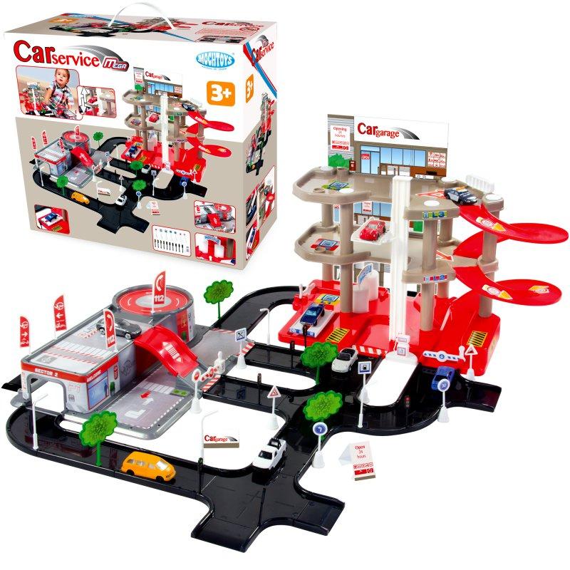 Игровой набор парковка + сервисный центр Mochtoys 11047
