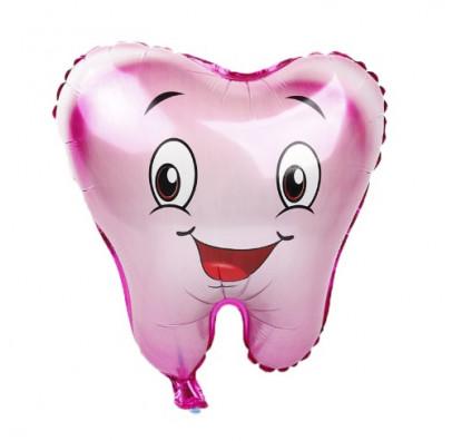 Зубик розовый шар фольгированный с гелием
