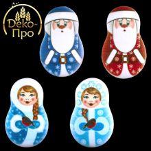 Сахарные фигурки Дед Мороз и Снегурочка плоские 1шт