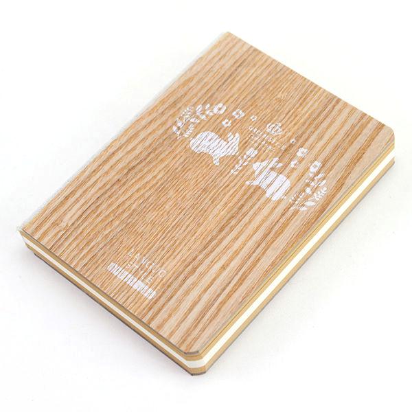 Блокнот с деревянной обложкой Кролики