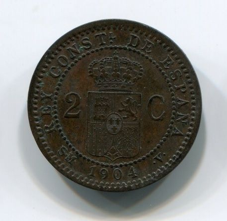 2 сантима 1904 года Испания