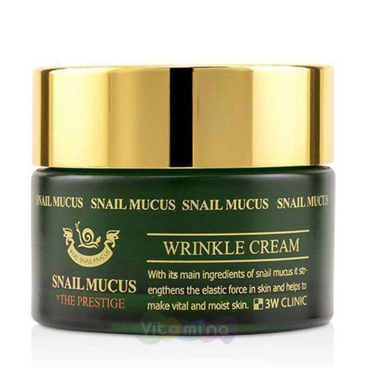 3W CLINIC Омолаживающий крем для лица с улиточным муцином Snail Mucus Wrinkle Cream, 50 мл
