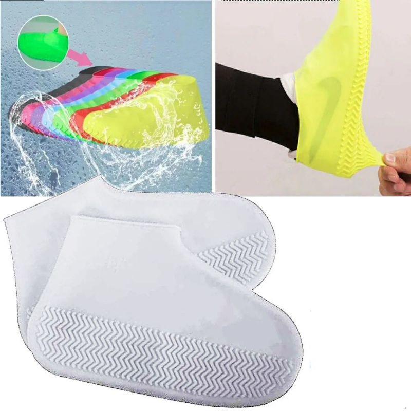 Водонепроницаемые Защитные Чехлы для Обуви Waterproof Silicone Shoe Cover, Размер L, Цвет Белый