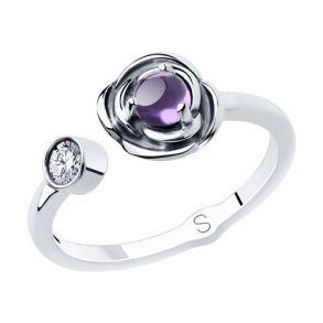 Кольцо из чернёного серебра с аметистом и фианитом 92011898 SOKOLOV