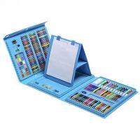 Набор для рисования со складным мольбертом в чемоданчике, 176 предметов, Цвет Голубой (3)