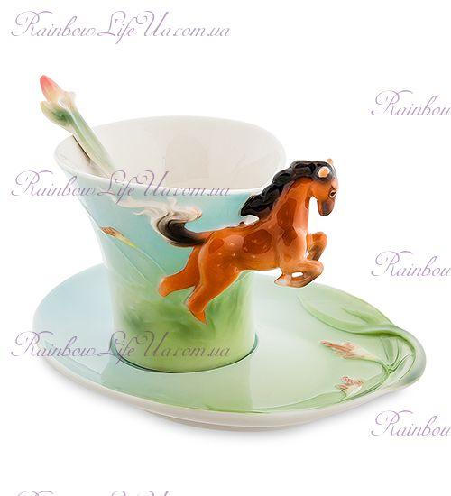 Чайная пара с ложечкой Лошадь ''Pavone''