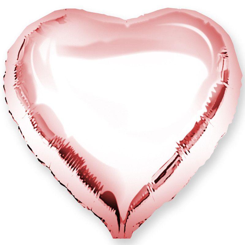 """Шар фольга без рисунка Сердце 18""""розовое золото"""