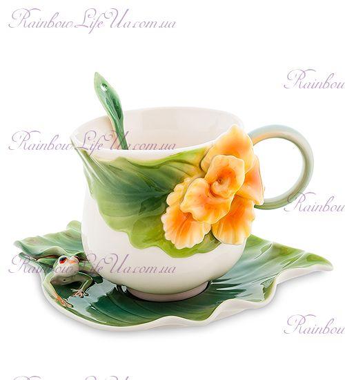 Чайная пара с ложечкой Лягушка и цветы канны ''Pavone''