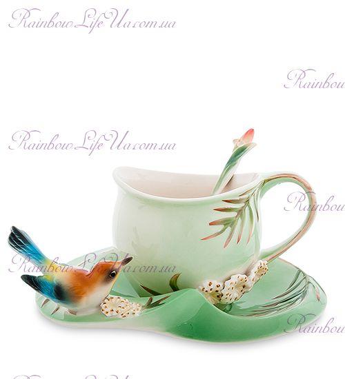 Чайная пара с ложечкой Радужная птичка ''Pavone''