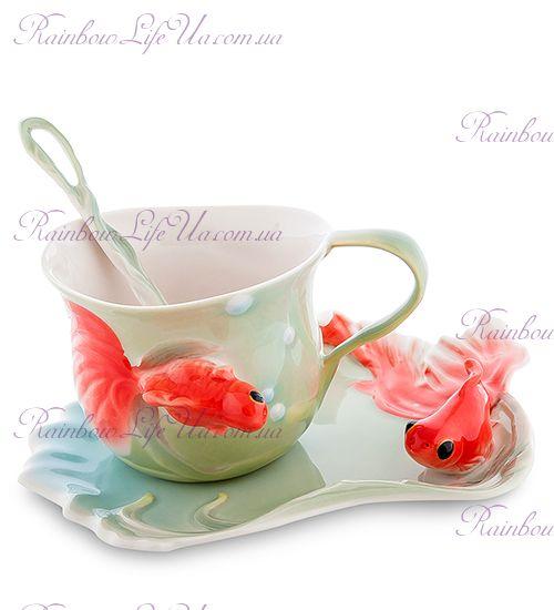 Чайная пара с ложечкой Золотые рыбки ''Pavone''