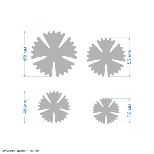 Набор шаблонов ''Цветок-11, набор - 4 шаблона'' , ПЭТ 0,7 мм (1уп = 5наборов)
